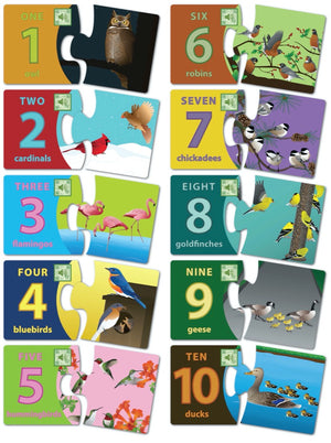 All 10 puzzles shown are included in the set of Bird Numbers Two Piece Puzzles