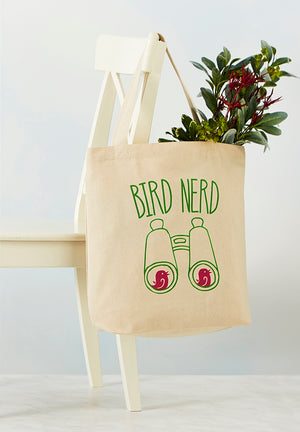 "Full sized image of cotton tote bag that reads ""Bird Nerd"" and features an image of binoculars"