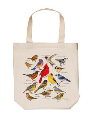 Bird Study Cotton Tote Bag with a variety of colorful birds illustrated on front