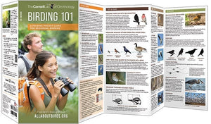 Unfolded View of Birding 101 Folding Pocket Guide for Beginning Birders