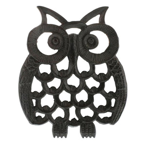 NEW!  OWL TRIVET - CAST IRON - BLACK