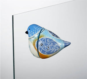 Bird Song Collection Bluebird Screen Magnet displayed on glass