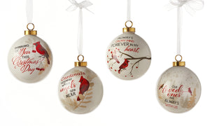 Ceramic Christmas Cardinals Ball Ornament, Choose from 4 Assorted Designs