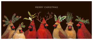 Christmas Cardinals Gold Foil Boxed Set  - 6 Cards