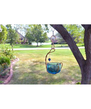 Copper Bluebird Mealworm Feeder with blue dish