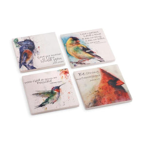 Artist Dean Crouser colorful Birds of Faith Coasters - Set of 4