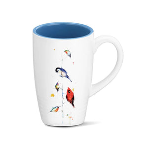 Birds on a Branch Latte Mug featuring colorful watercolor artwork by artist Dean Crouser