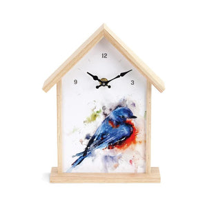 Bluebird Birdhouse Clock featuring watercolor artwork by artist Dean Crouser