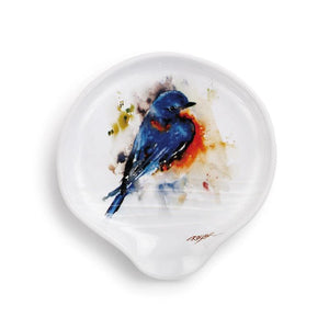 Springtime Bluebird Spoon Rest featuring the colorful watercolor artwork by artist Dean Crouser