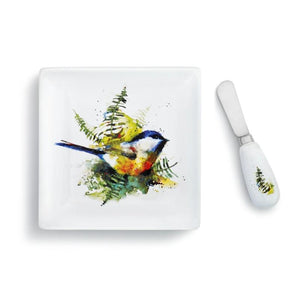 Dean Crouser Set of Chickadee & Ferns Plate with matching Spreader both featuring the watercolor artwork of artist Dean Crouser