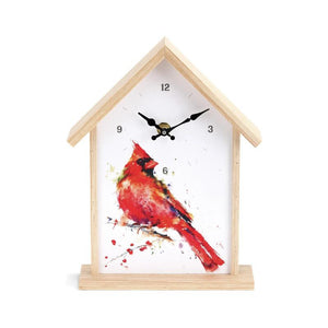 Cardinal Birdhouse Clock featuring watercolor artwork by Artist Dean Crouser