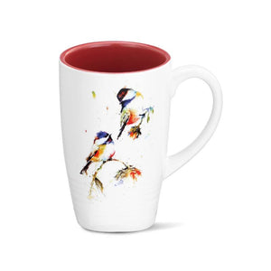 Chickadees Dropping In Latte Mug featuring watercolor artwork by artist Dean Crouser