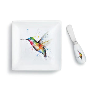 Dean Crouser Set of Hummer & Flower Plate with matching Spreader both featuring the watercolor artwork of artist Dean Crouser