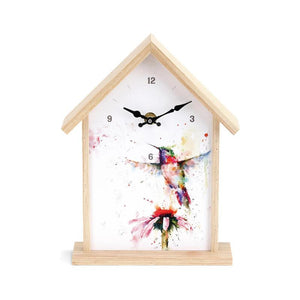 Rear view of Hummingbird Birdhouse Clock featuring watercolor artwork by artist Dean Crouser