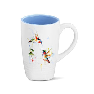 Summer Hummingbirds Latte Mug featuring colorful watercolor artwork by artist Dean Crouser