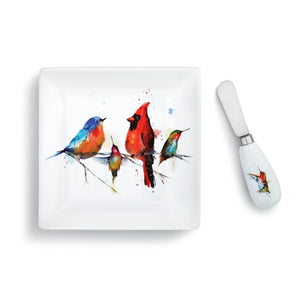Dean Crouser Set of Little Birds Plate with matching Spreader both featuring the watercolor artwork of artist Dean Crouser
