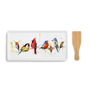 Little Birds Appetizer Tray featuring watercolor artwork by artist Dean Crouser. Set includes a Bamboo Spatula