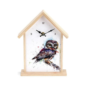 Saw Whet Owl Birdhouse Clock featuring watercolor artwork by artist Dean Crouser