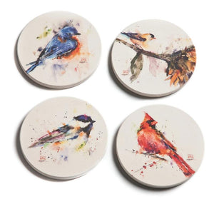 Artist Dean Crouser colorful Songbird Coasters - Set of 4