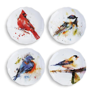 Songbirds Appetizer Plate Set of 4 featuring colorful watercolor artwork by artist Dean Crouser