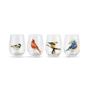 Songbirds Stemless Glass Set of 4 featuring colorful watercolor artwork by artist Dean Crouser