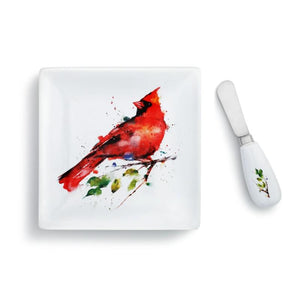 Dean Crouser Set of Spring Cardinal Plate with matching Spreader both featuring the watercolor artwork of artist Dean Crouser