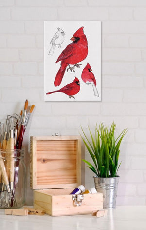 Male Cardinal 5x7 Canvas Wall Art