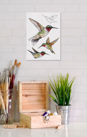 Ruby-Throated Hummingbird 5x7 Canvas Wall Art