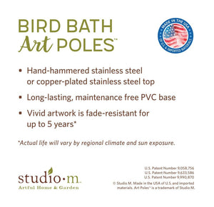 Specifications for the Farmhouse Garden Bird Bath Art Pole with Copper Topper
