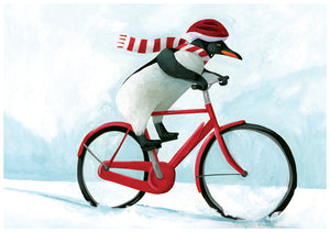 Penguin Bike Holiday Greeting Card