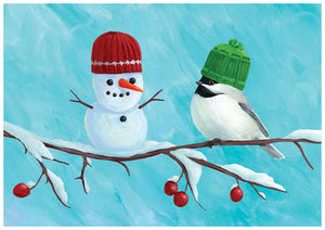 Chickadee and Snowman individual holiday Greeting Card