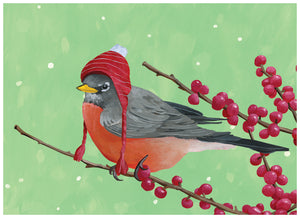 Little Winter Robin individual Greeting Card