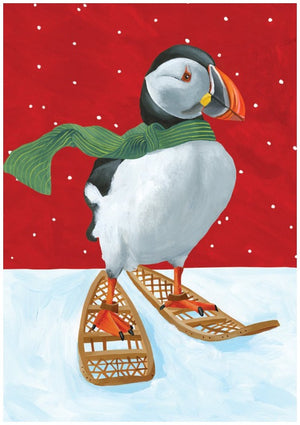 Puffin Snowshoes Holiday Greeting Card