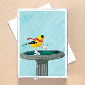 Goldfinch Skates Holiday Greeting Card