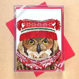 Winter Owl Greeting Card Holiday Boxed Set - 15 Cards
