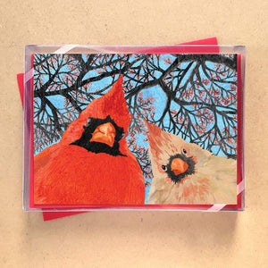 Quirky Cardinal Birds Greeting Card Holiday Boxed Set - 15 Cards