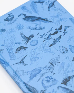 Close-up image of the birds print on the front cover of Birds Hardcover Notebook with Dot Grid Paper