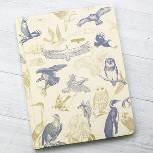 Front Cover of Carnivorous Birds Hardcover Notebook with lined pages on the right to take notes and graph paper on the left pages to annotate, graph, or record data