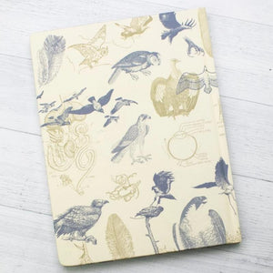 Back Cover of Carnivorous Birds Hardcover Notebook with lined pages on the right to take notes and graph paper on the left pages to annotate, graph, or record data