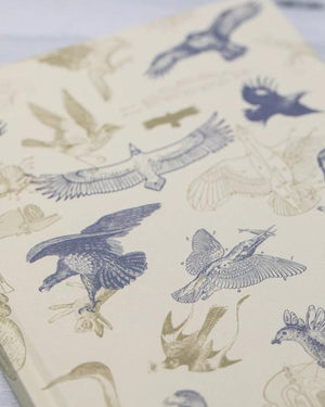 Close-up image of the Front Cover print of the Carnivorous Birds Hardcover Notebook