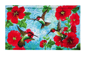 Hummingbirds & Hollyhocks Embossed Floor Mat