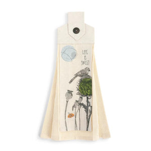 Life is Sweet Button Loop Tea Towel with off white linen color and bird on thistle illustration on the front