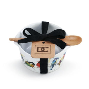Little Birds Appetizer Bowl with Bamboo Spoon tied with bow presented as giftable