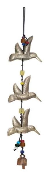 Triple Hummingbird Windchime - Glass Beads & NANA Bell