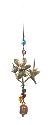 Peeking Hummingbird & Flower Windchime - Glass Beads & NANA Bell