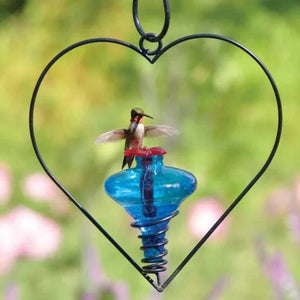Mini Blossom agua glass Hummingbird Feeder with Heart Hanger