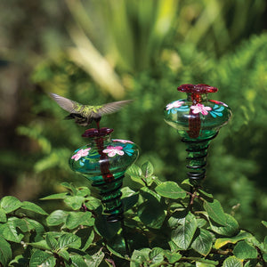Mini Blossom Botanical Hummingbird Feeder on Stake