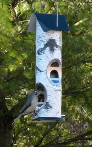 4-port Mixed Seed Tube Feeder with Birch Log graphics on tube