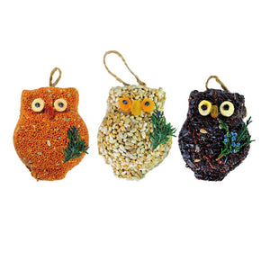 Mr. Bird Ollie the Owl Seed Singles each comes with a natural raffia tie
