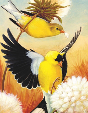 Artist's print on the American Goldfinch Mini Puzzle